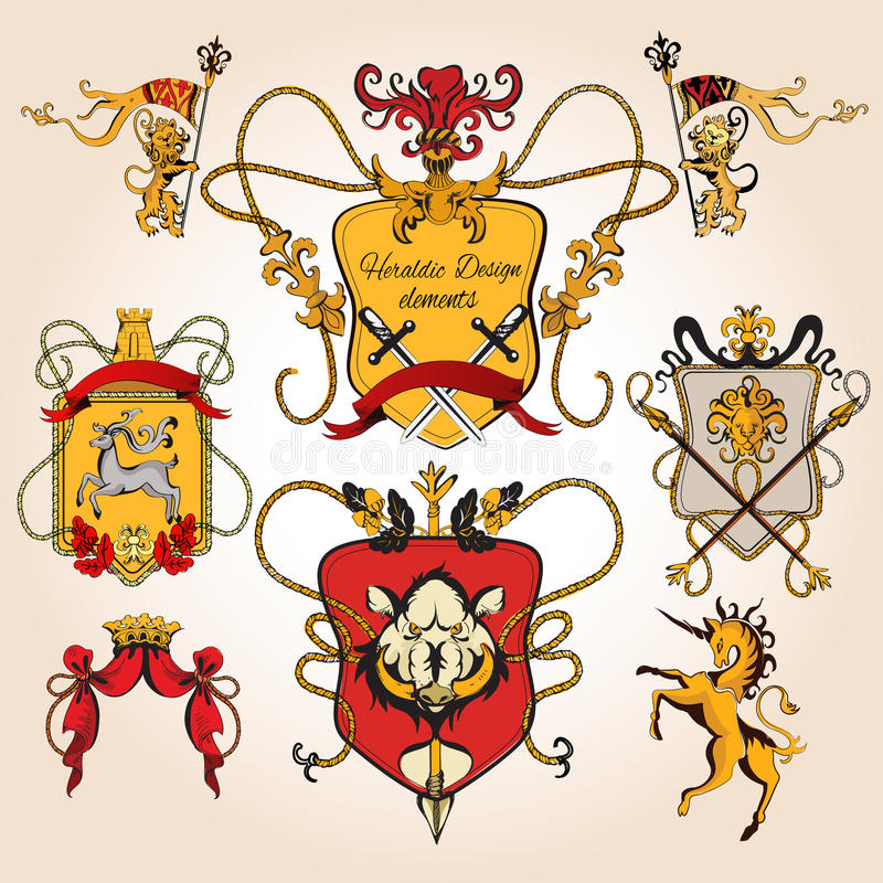 Heraldic design colored. Elements decorative retro monogram sketch set isolated vector illustration royalty free illustration