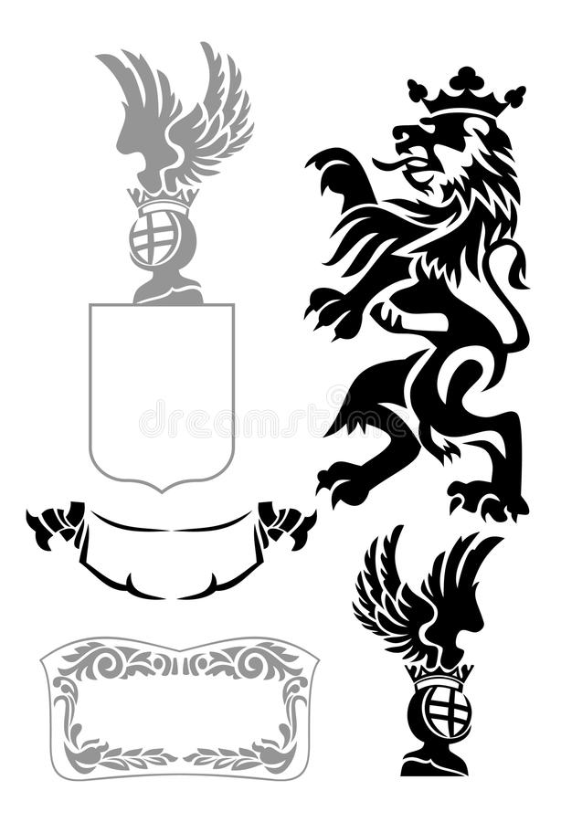 Heraldic design elements. Set of heraldic design elements royalty free illustration