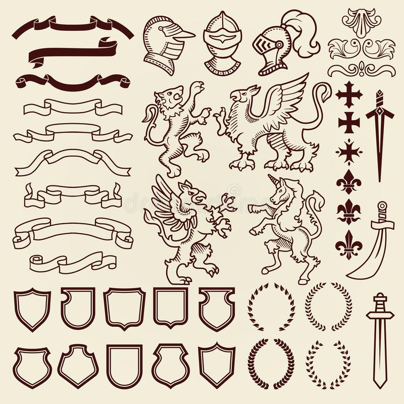 Heraldic design vintage retro shield clipart royal chest elements medieval knight ornament vector illustration. vector illustration