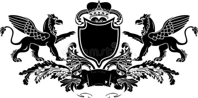 Heraldic Double Griffin Shield Crest