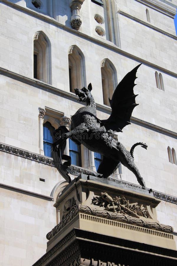 Heraldic dragon. In Fleet Street in London, UK royalty free stock images