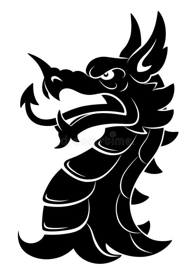 Dragon Heraldry: Heraldic Dragon Head Simple Stock Vector