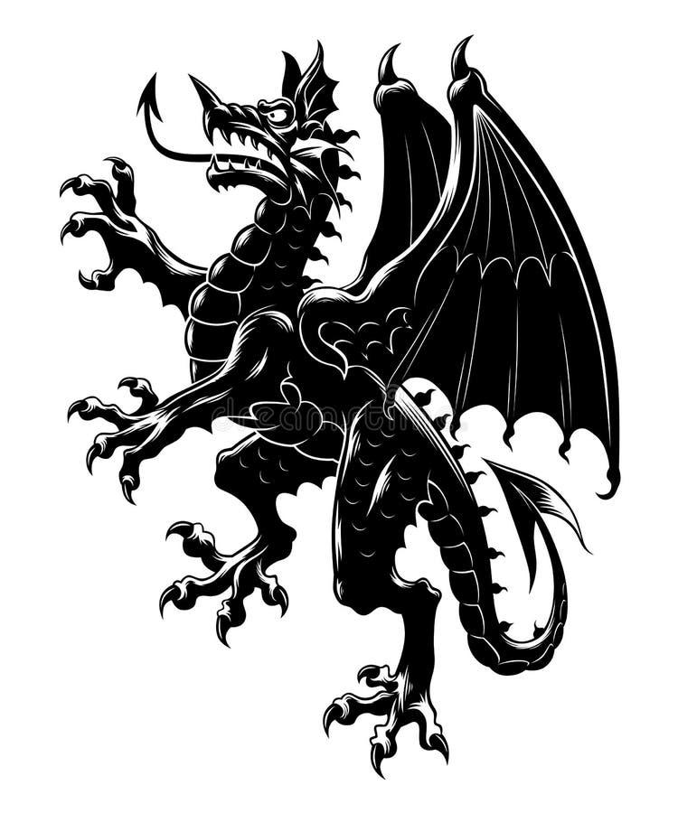 Dragon Heraldry: Heraldic Dragon Vertical Stock Vector. Illustration Of