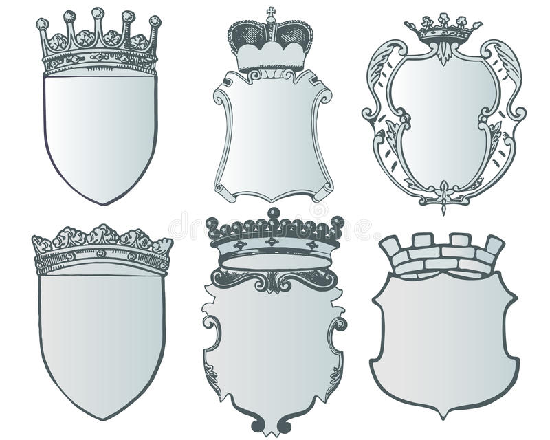 Heraldic Element Collection And Coat Of Arms Template Stock Vector