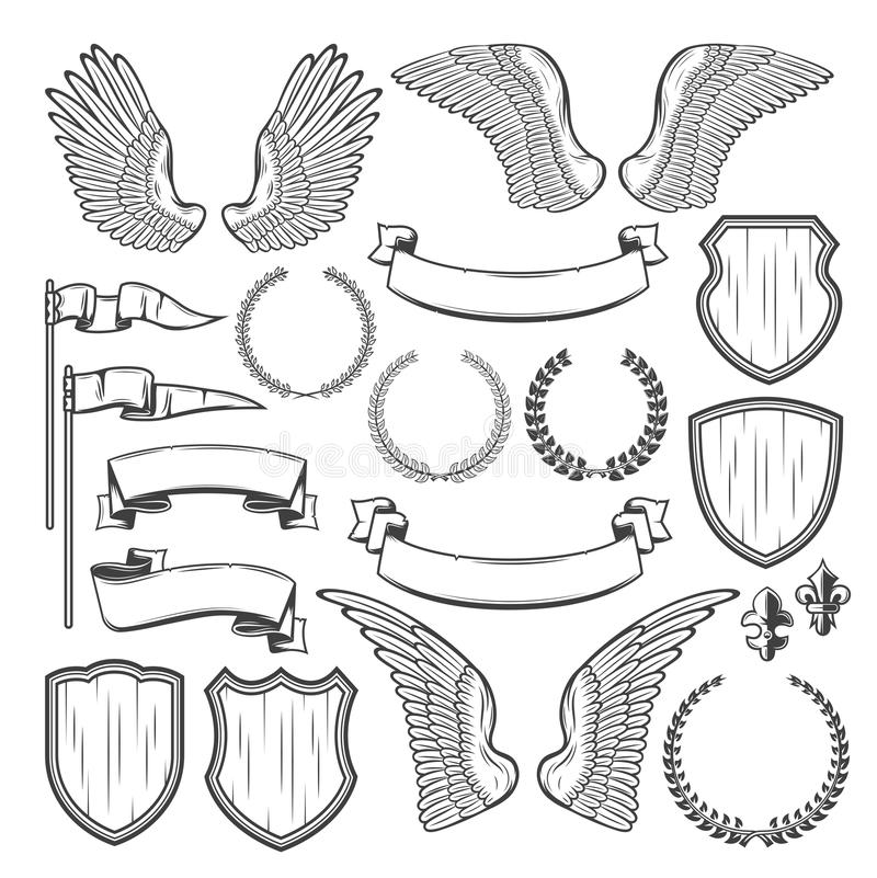 Heraldic element for medieval badge, crest design. Heraldic element for medieval badge and royal crest design. Heraldry shield, wing and laurel wreath, vintage royalty free illustration