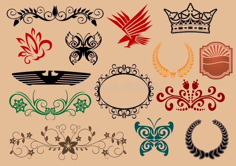 Download Heraldic elements stock vector. Illustration of crown - 14892418