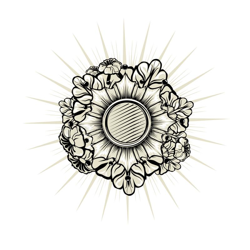 Heraldic emblem with floral elements vector illustration