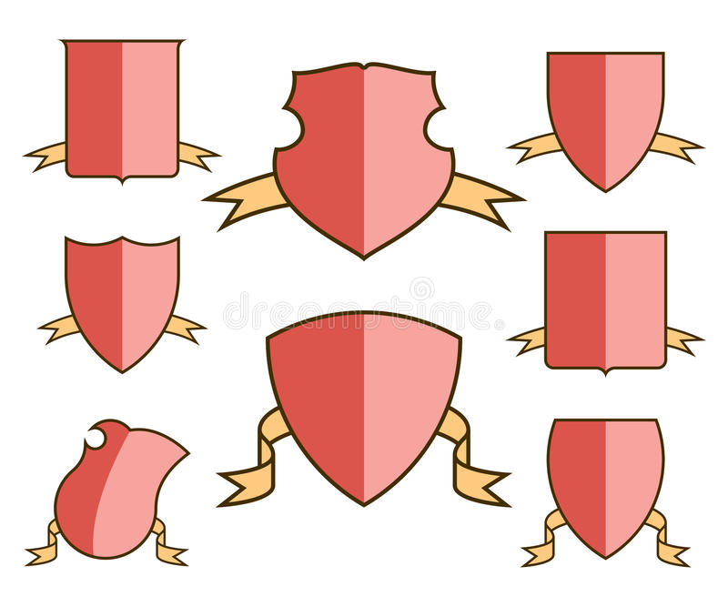 Heraldic Escutcheons For Coat Of Arms With Ribbons Set, Shield ...