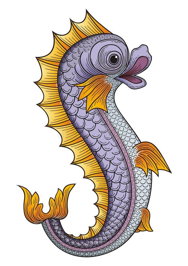 Heraldic fish stock vector image of water blue filigree for H m fish count