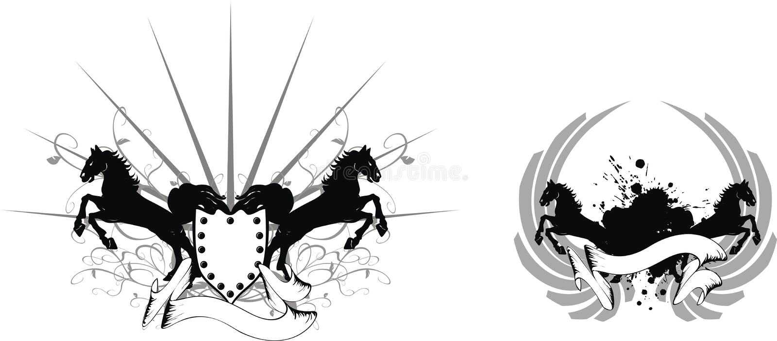 Heraldic horse coat of arms set1 royalty free illustration