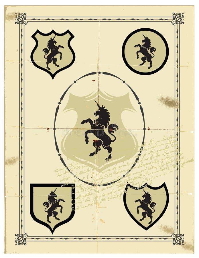 Heraldic horse unicorn stock photo