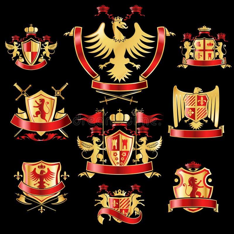 Heraldic labels gold red vector illustratie