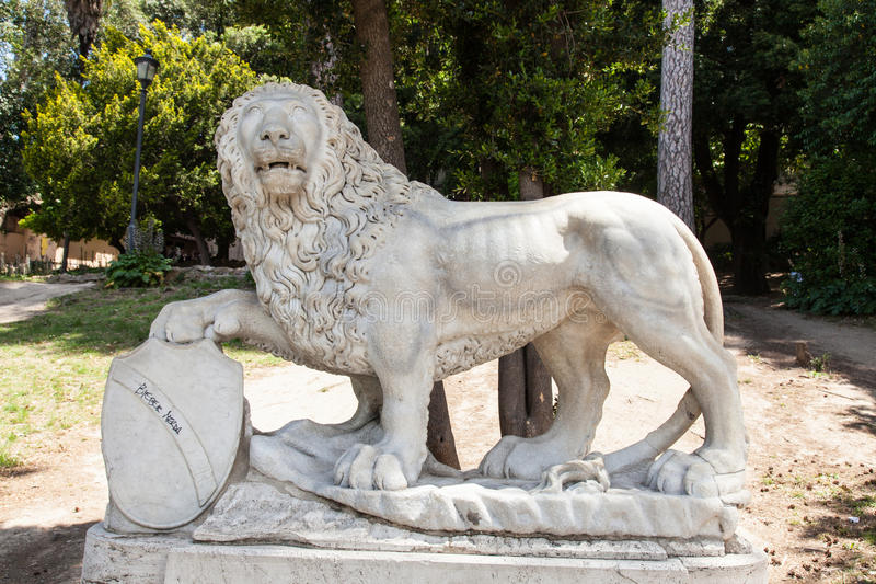 Heraldic lion. (leone araldico), also known as Leone del Pincio, on the slope of the Pincian Hill looking toward Piazza del Popolo stock photos