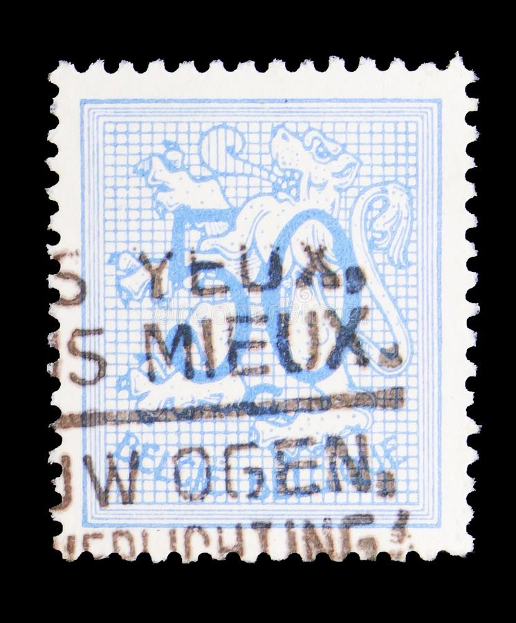 Heraldic lion, serie, circa 1951. MOSCOW, RUSSIA - MAY 15, 2018: A stamp printed in Belgium shows Heraldic lion, serie, circa 1951 stock image
