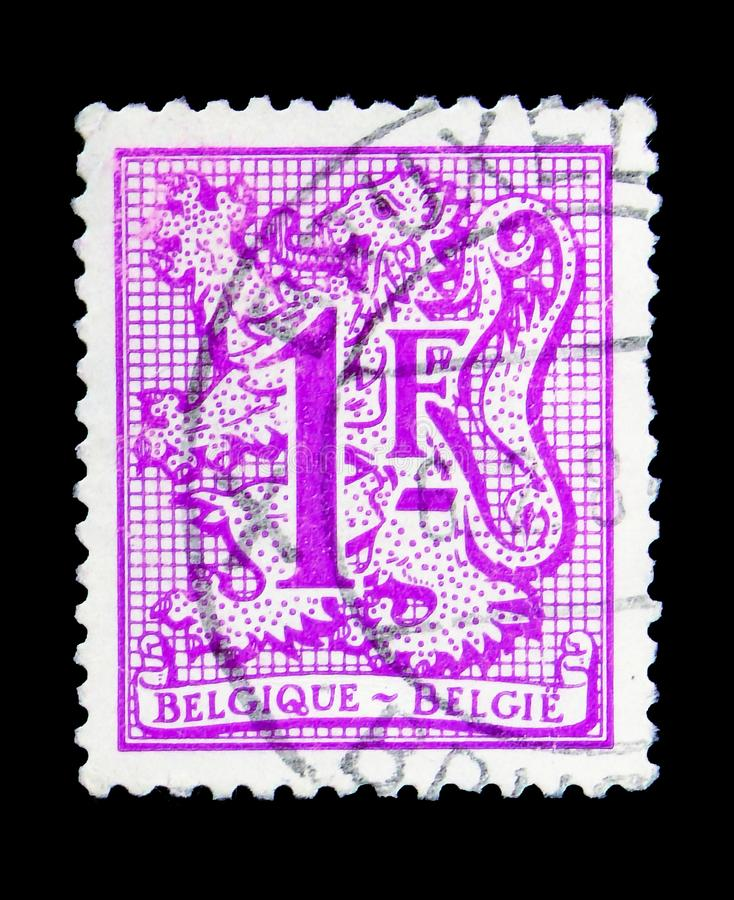 Heraldic lion, serie, circa 1980. MOSCOW, RUSSIA - MAY 15, 2018: A stamp printed in Belgium shows Heraldic lion, serie, circa 1980 stock images