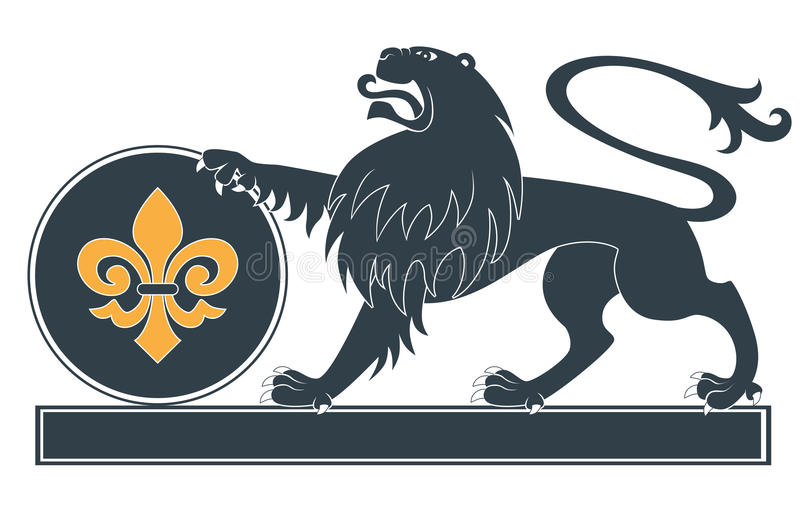 Heraldic lion silhouette royalty free illustration