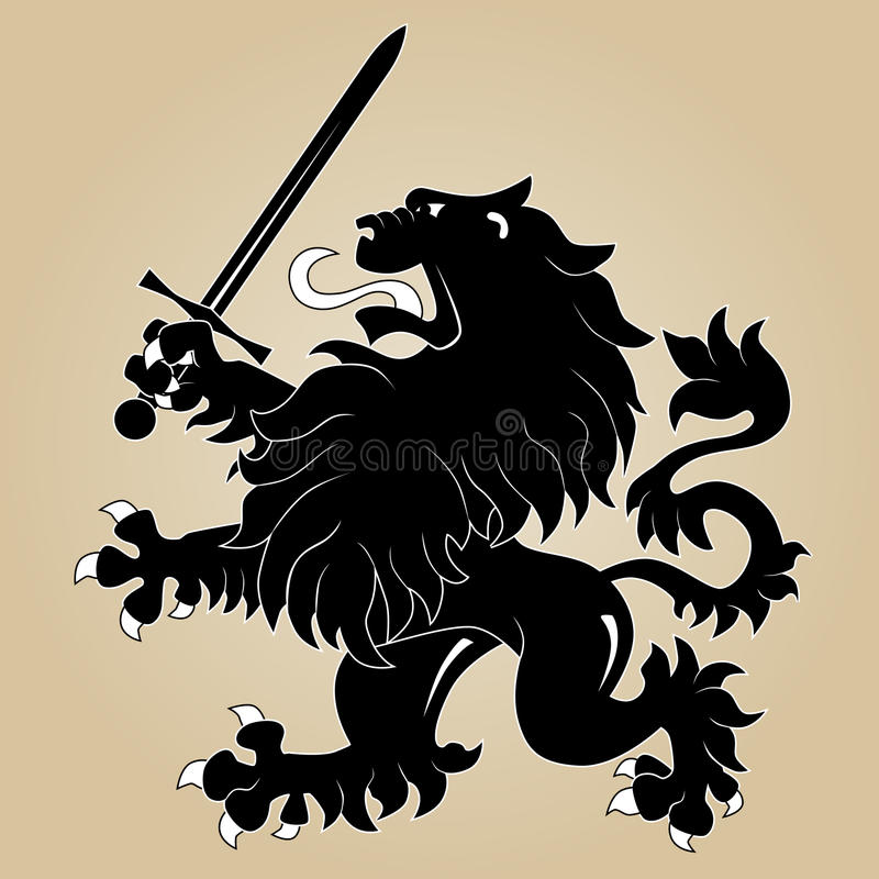 Heraldic lion with sword royalty free illustration