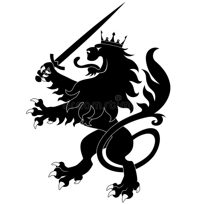 Heraldic lion with sword vector illustration
