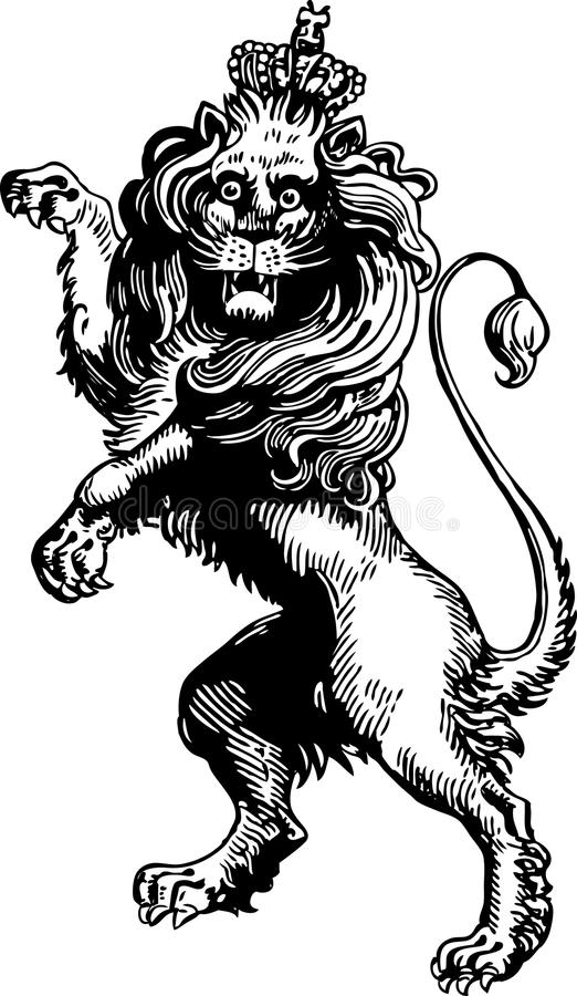 Heraldic lion. Vector drawing of a medieval heraldic lion vector illustration