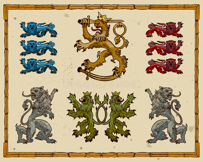 Download Heraldic lions stock vector. Illustration of illustration - 18980234