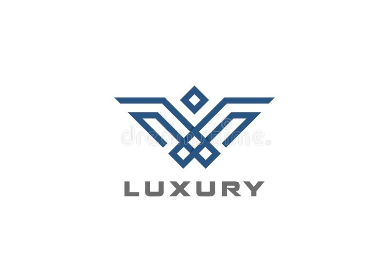 Heraldic Luxury Eagle Bird abstract Logo design ve. Geometric Heraldic Luxury Eagle Bird abstract Logo design vector template linear style stock illustration