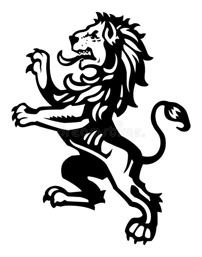 Lion Rampant 2. A heraldic rampant lion illustration excellent for medieval crest imagery