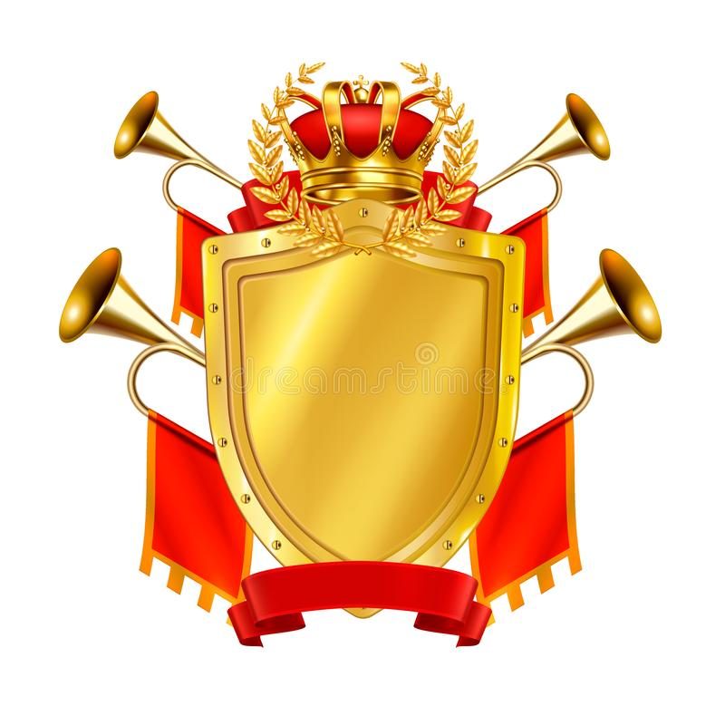 Heraldic Realistic Design Concept. With golden shield crown and king fanfares decorates by red flags vector illustration royalty free illustration