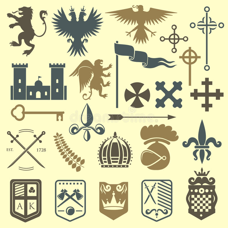 Heraldic royal crest medieval knight elements vintage king symbol heraldry castle badge vector illustration. Historical insignia crown luxury ornament graphic royalty free illustration