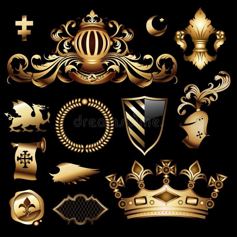 Heraldic royal set royalty free illustration