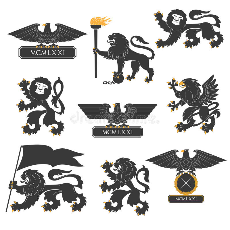 Heraldic set. Heraldic lions and eagles set royalty free illustration