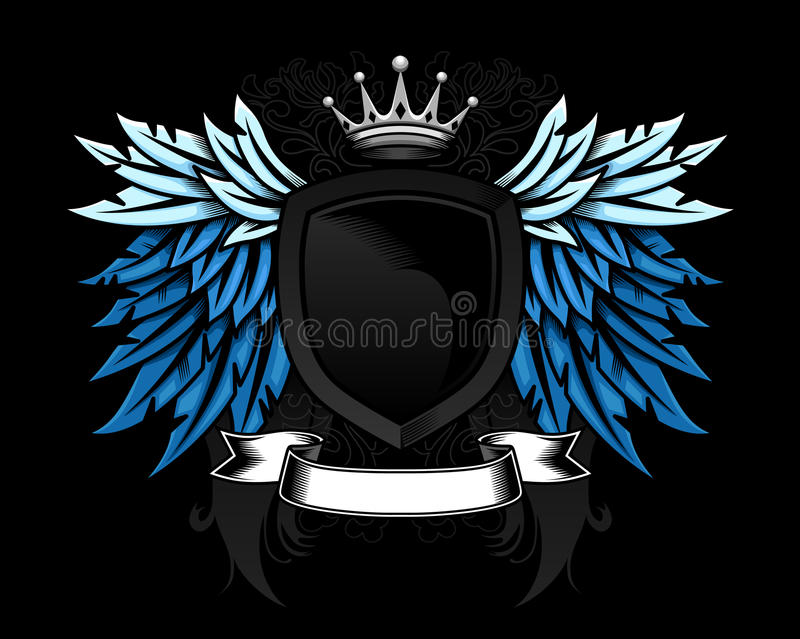 Heraldic shield design. Heraldic wing and shield design with detailed scroll and crown stock illustration