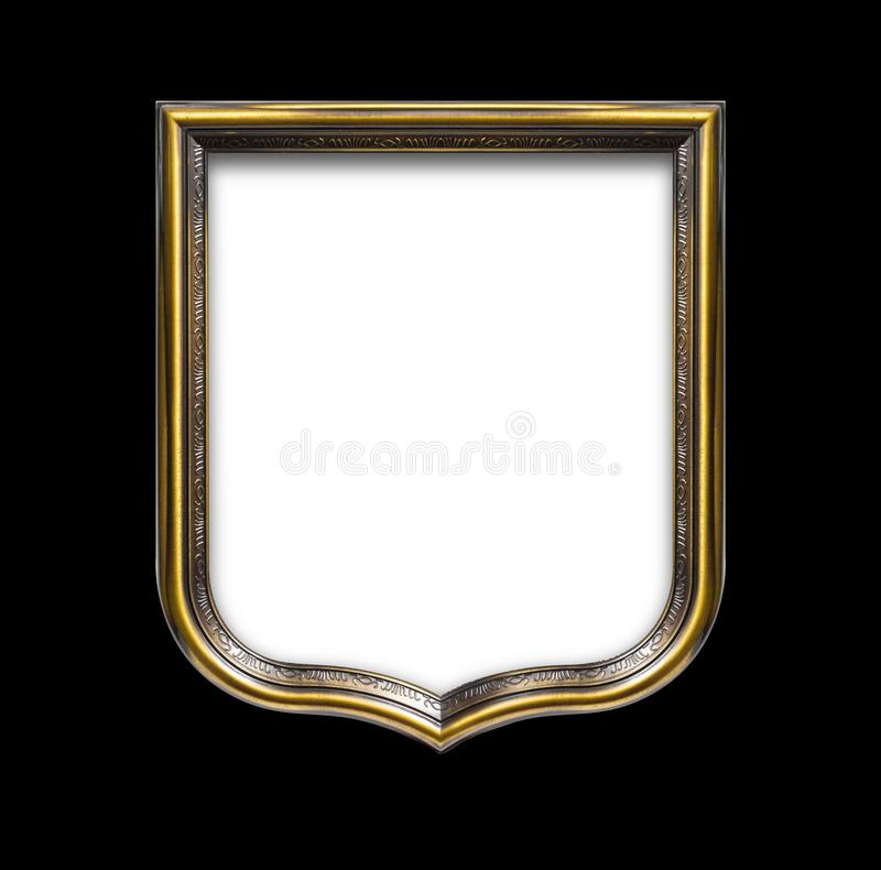 Heraldic shield diploma in wooden frame isolated on black. Background royalty free stock photos