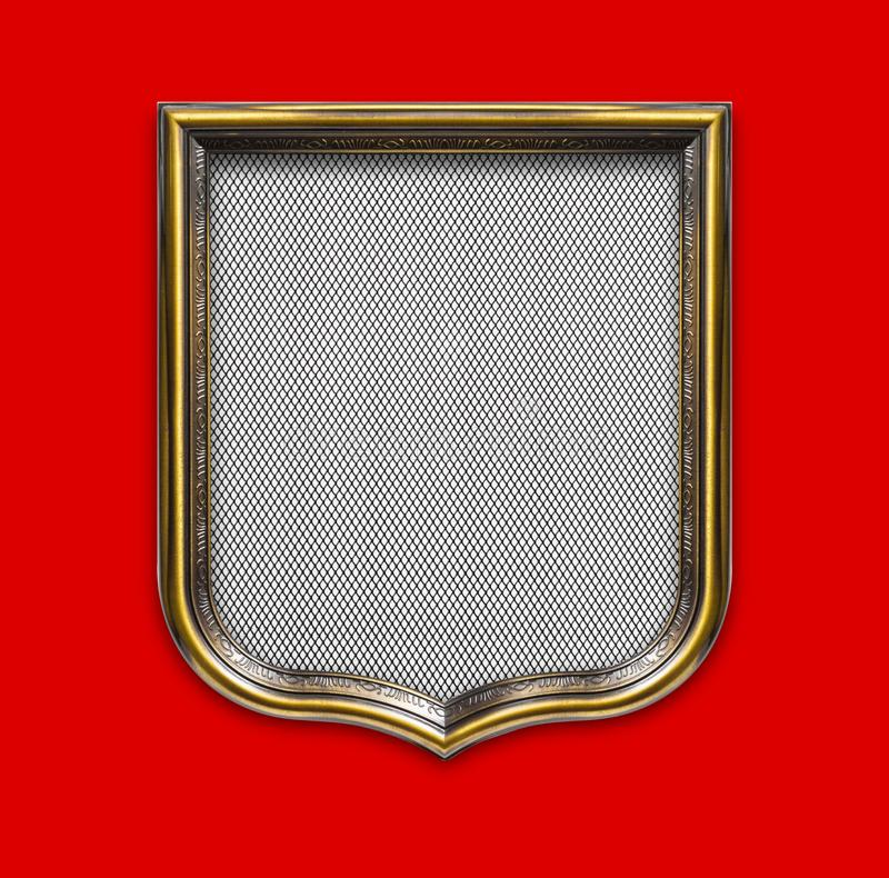 Heraldic shield diploma in wooden frame isolated on red. Background stock photos