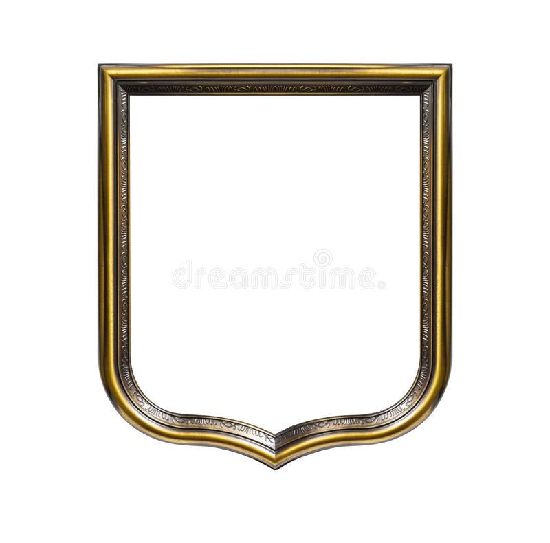 Heraldic shield diploma in wooden frame isolated on white. Background royalty free stock images