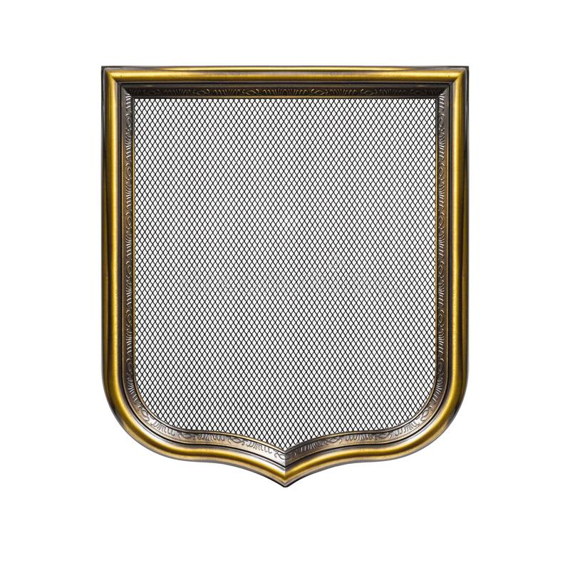 Heraldic shield diploma in wooden frame isolated on white. Background stock photo