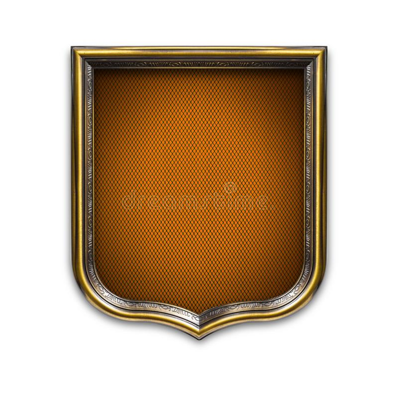 Heraldic shield diploma in wooden frame isolated on white. Background royalty free stock photos