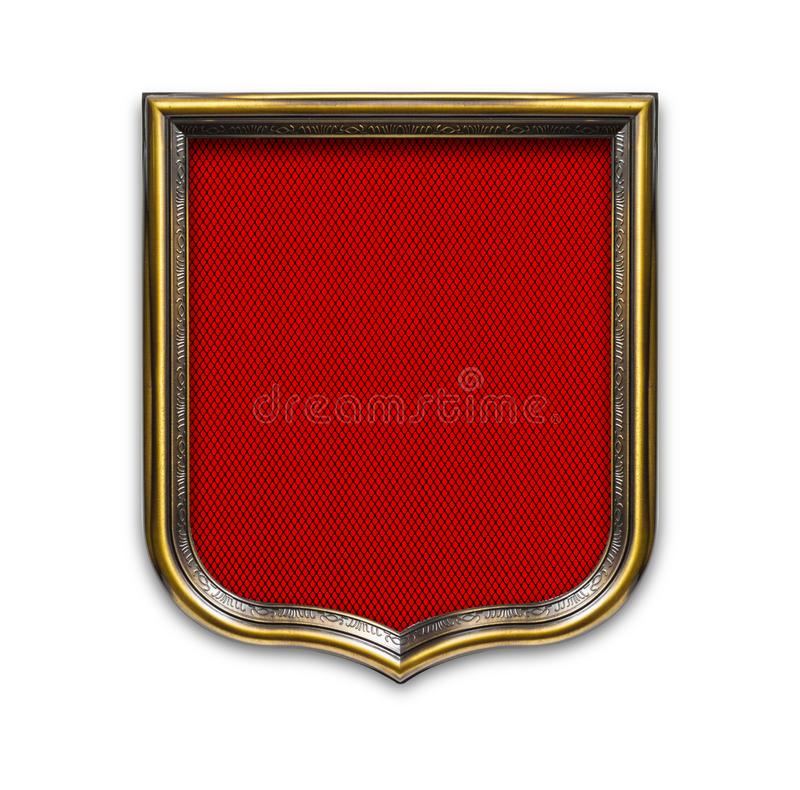 Heraldic shield diploma in wooden frame isolated on white. Background royalty free stock image