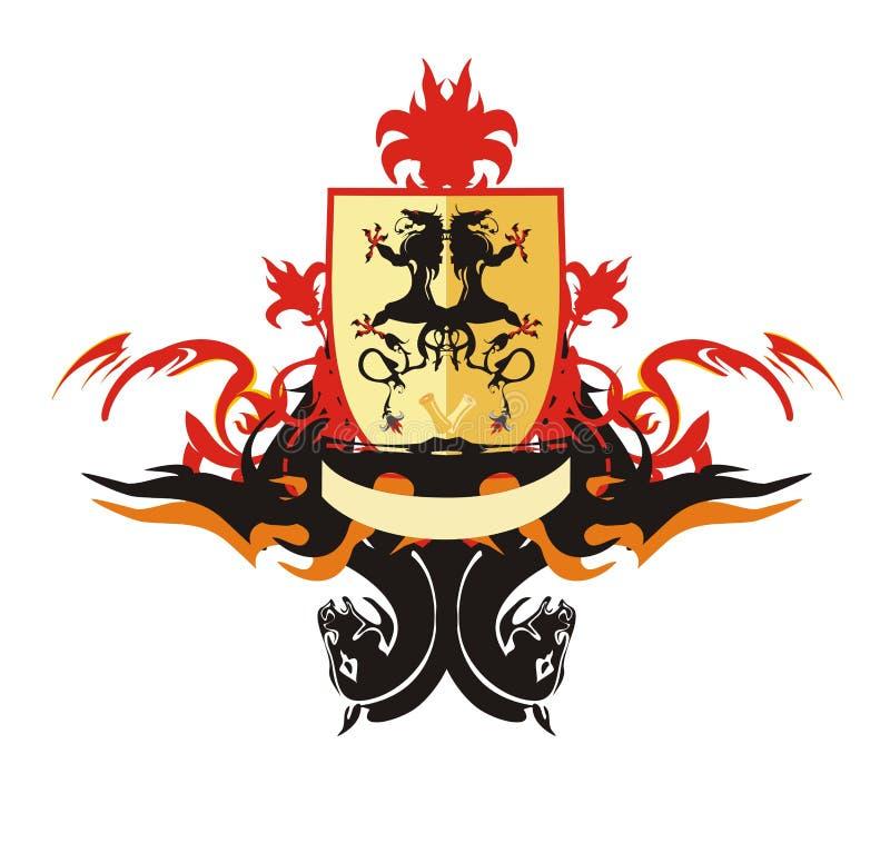 Heraldic shield with dragons