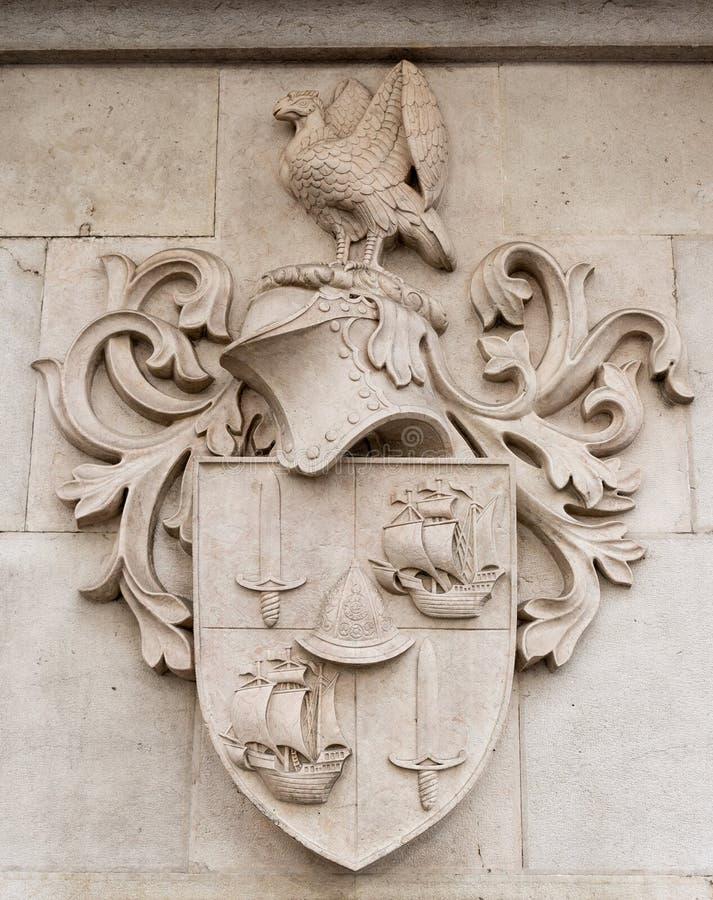 Heraldic shield stone. In a pareto stock images