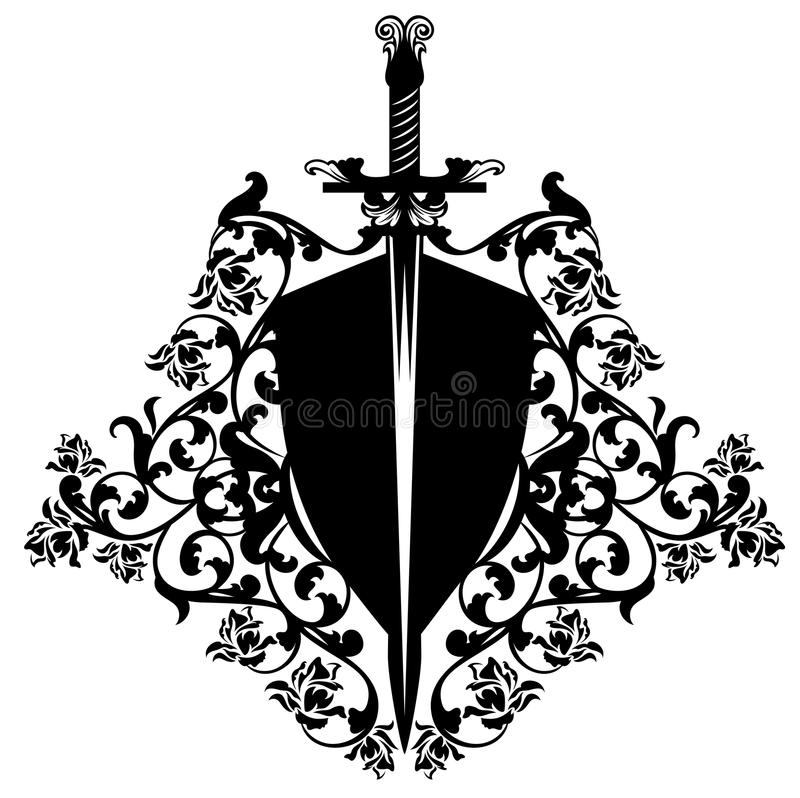 Heraldic shield and sword among roses vector design. Heraldic shield and sword among rose flowers - black and white vector design vector illustration