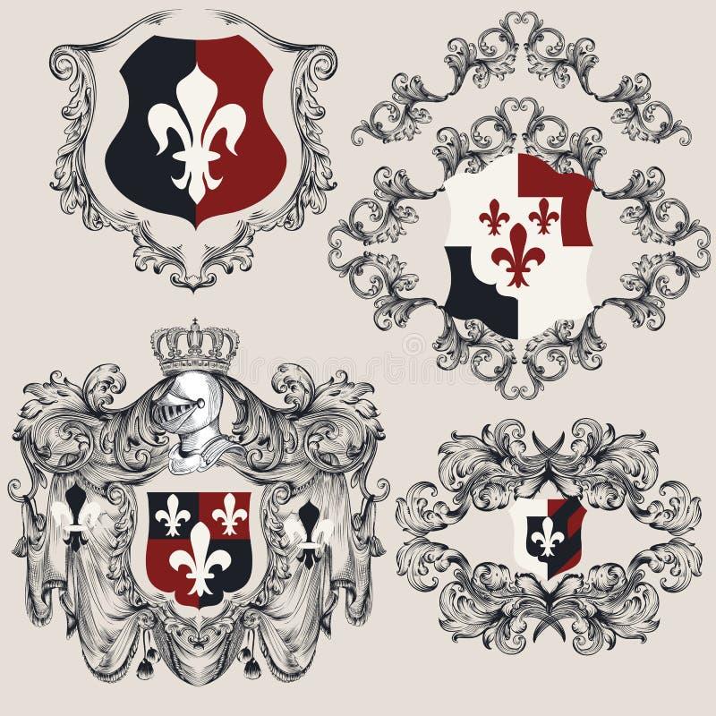 Heraldic shields set for antique vintage design. Vector illustration vector illustration