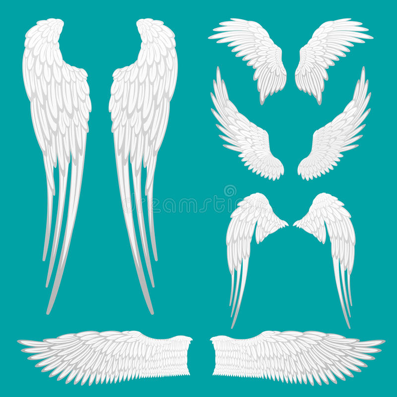 Heraldic Wings Set for Tattoo or Mascot Design. Angel white wings set isolated. Heraldic wings set for tattoo or mascot design. Bird feather of different shapes stock illustration