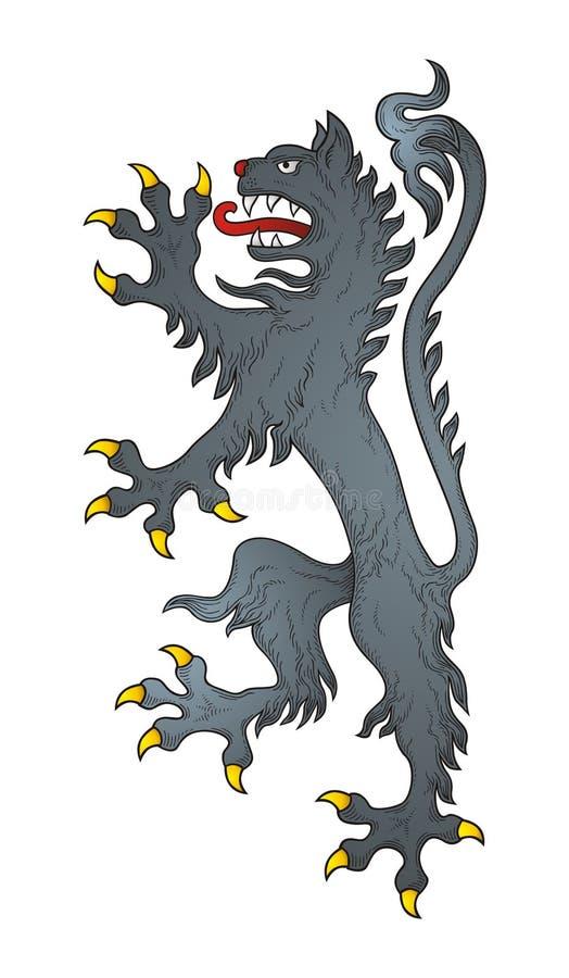 Download Heraldic wolf stock vector. Image of curl, filigree, retro - 12041154