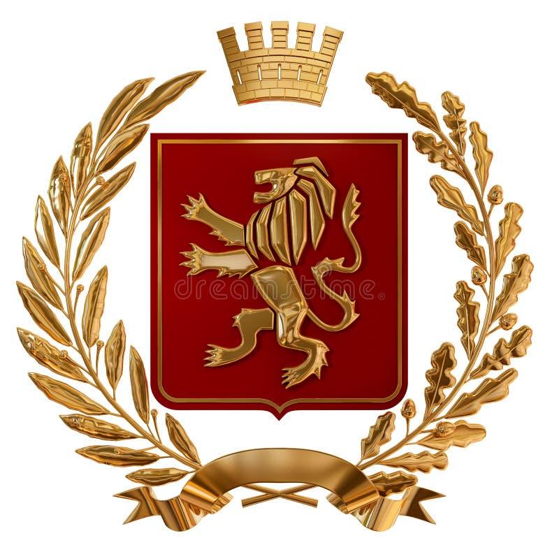 heraldik för illustration 3D, röd vapensköld Guld- olivgrön filial, ekfilial, krona, sköld, lejon Isolat stock illustrationer