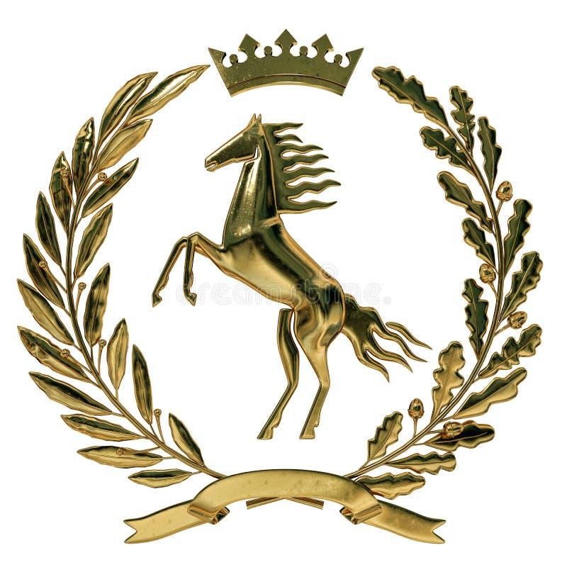 heraldik för illustration 3D, vapensköld Guld- olivgrön filial, ekfilial, krona, sköld, häst Isolat vektor illustrationer