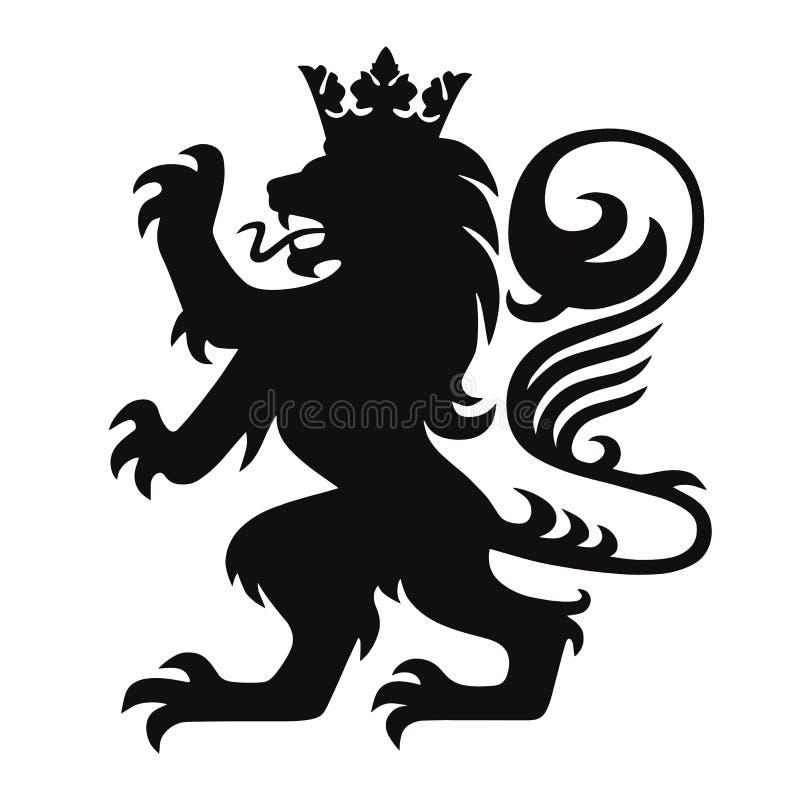 Heraldik Lion King med kronan Logo Mascot Vector royaltyfria bilder