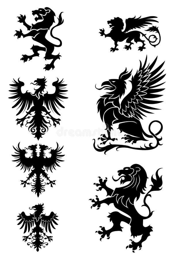 Heraldikprydnaduppsättning stock illustrationer