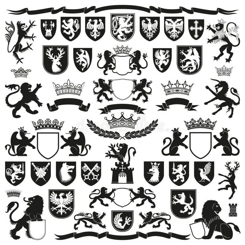HERALDIKsymboler och dekorativa beståndsdelar royaltyfri illustrationer