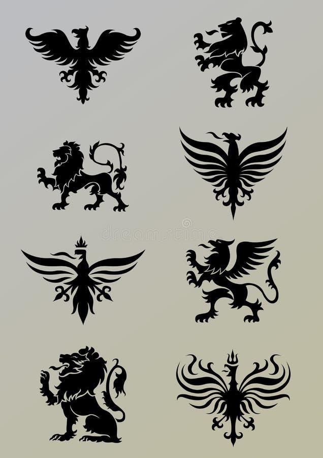 Heraldikuppsättning royaltyfri illustrationer