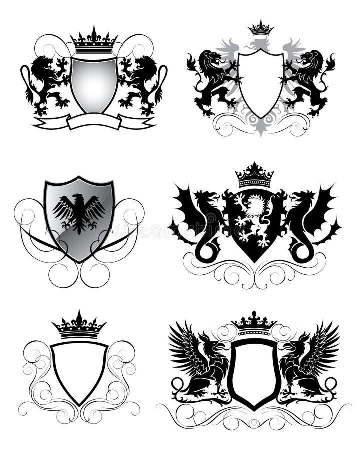 Heraldikuppsättningsköld vektor illustrationer